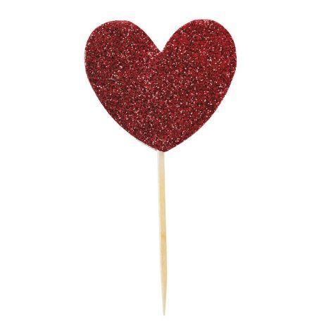 Miss Étoile Deko-Stick Paper Big Heart Red Glitter •