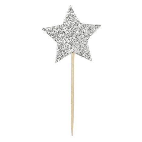 Miss Étoile Deko-Stick Big Star Silver 12 Stk.