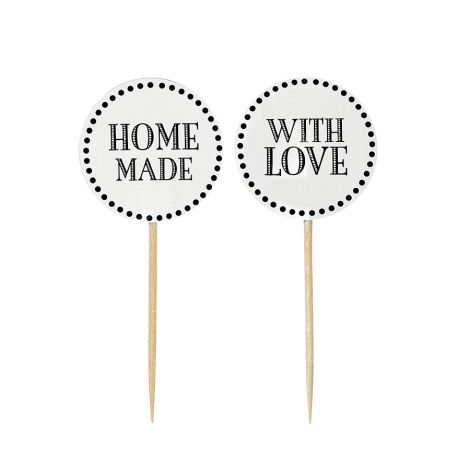Miss Étoile Deko-Stick with love/home made Weiß  12 Stk. •