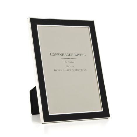 Klassischer Bilderrahmen versilbert/schwarzes Metall 20x15 cm •