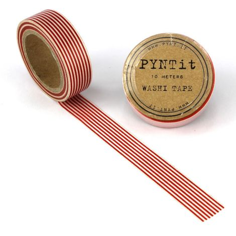 PYNTit Washi Tape Stripes Rot/Weiß •