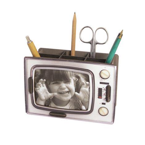Werkhaus Stiftebox Retro-TV Silber •