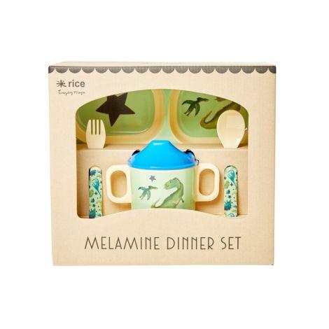 Rice Melamin-Geschirr Geschenkbox Dino 4-teilig