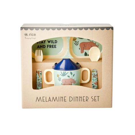 Rice Melamin-Gechirr Baby Geschenkbox Jungle Animals Blue 4-teilig