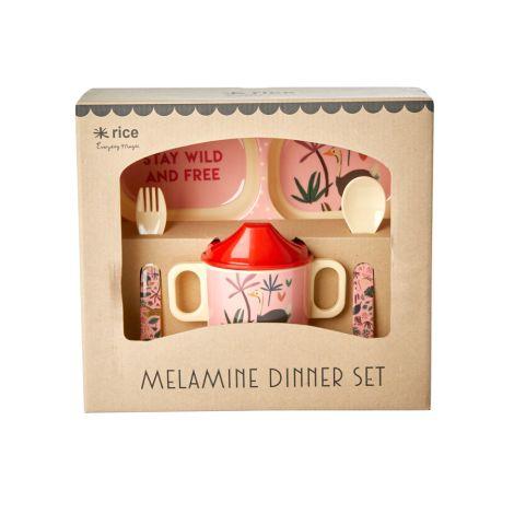 Rice Melamin-Gechirr Baby Geschenkbox Jungle Animals Pink 4-teilig