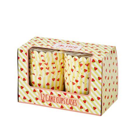 Rice Cupcake-Förmchen Stripe & Strawberry Gelb 12-er Set