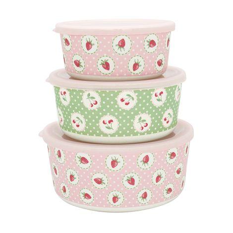 GreenGate Aufbewahrungsbox Rund Strawberry Pale Pink 3er-Set