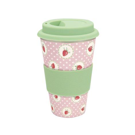 GreenGate Travel Mug Becher Strawberry Pale Pink