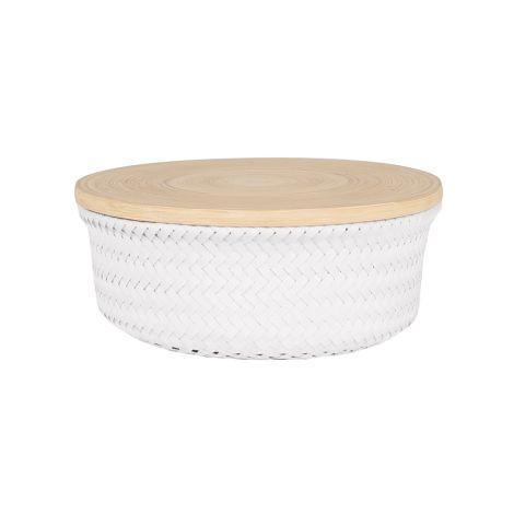 Handed By Korb rund mit Deckel Bambus Medium White