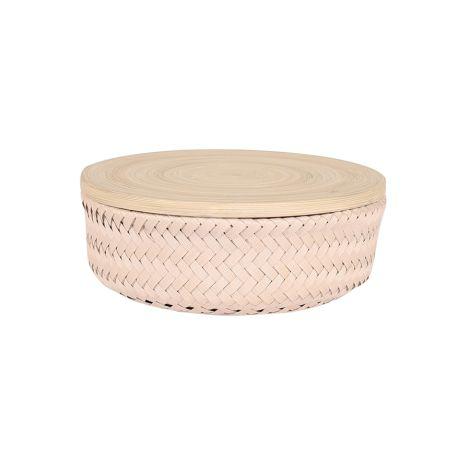 Handed By Korb rund mit Deckel Bambus Small Bisque