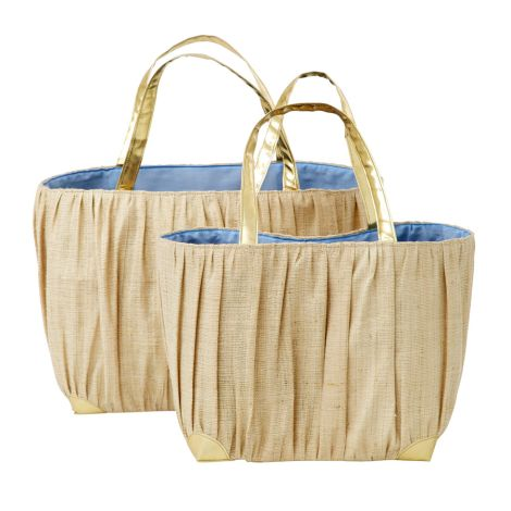 Rice Shopping Bag Natural Raffia mit Goldhenkel