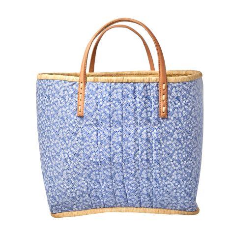 Rice Tasche mit Ledergriffen Blue Floral L