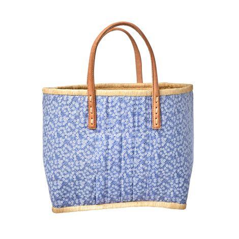 Rice Tasche mit Ledergriffen Blue Floral M