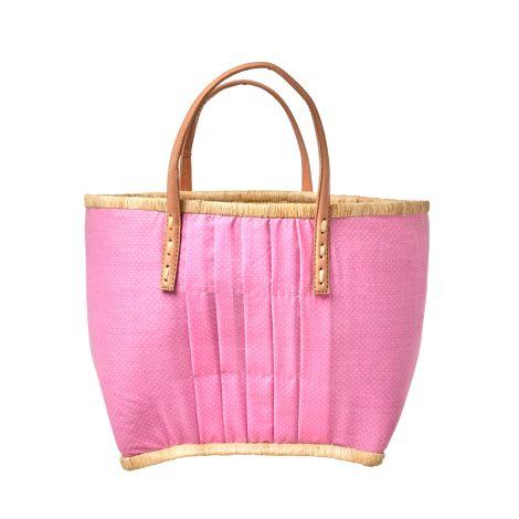 Rice Tasche mit Ledergriffen Pink White Dots M