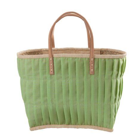 Rice Tasche Vichy-Karo mit Ledergriffen Apple Green L