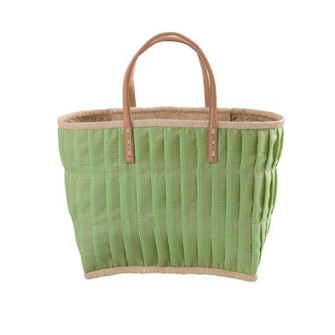 Rice Tasche Vichy-Karo mit Ledergriffen Apple Green M