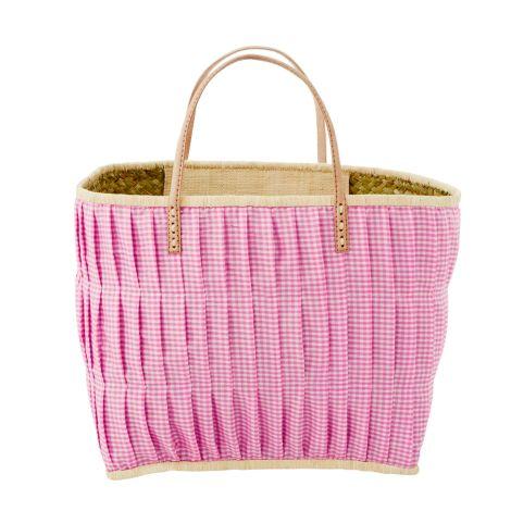 Rice Tasche Vichy-Karo mit Ledergriffen Dark Pink L