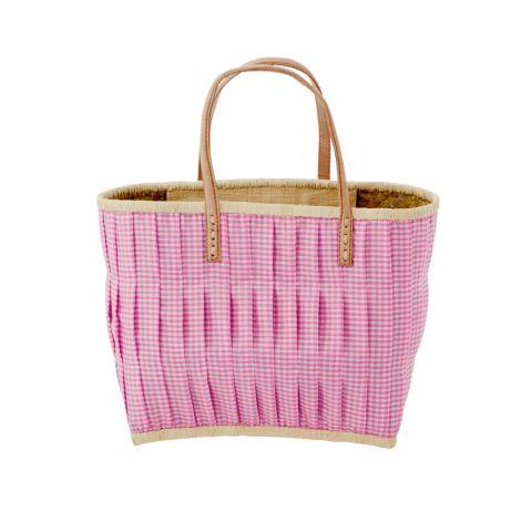 Rice Tasche Vichy-Karo mit Ledergriffen Dark Pink M