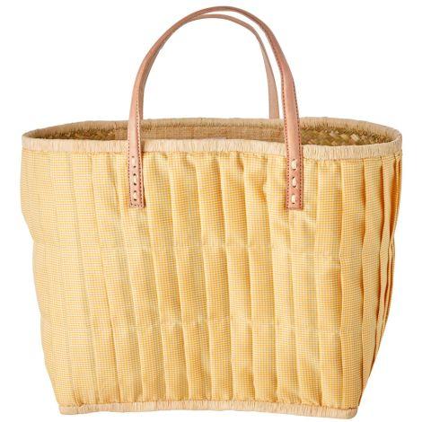 Rice Tasche mit Ledergriffen Yellow Check L