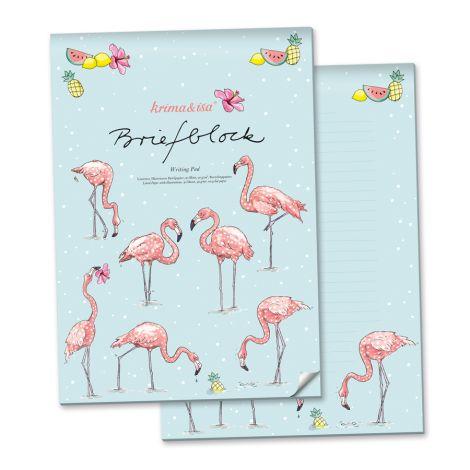 krima & isa Briefblock Flamingo A4 •