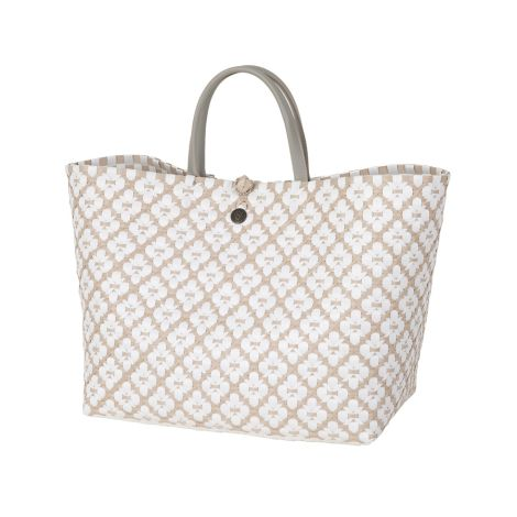 Handed By Tasche Motif Bag Pale Grey/White