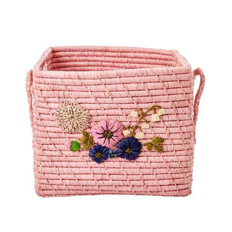 Rice Aufbewahrungskorb Flower Embroidery Blush