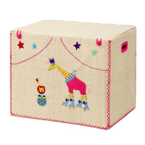 Rice Großer Faltbarer Spielzeugkorb Circus Design Giraffe/Löwe