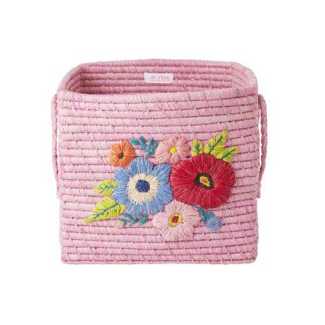 Rice Aufbewahrungskorb handbestickt Pink