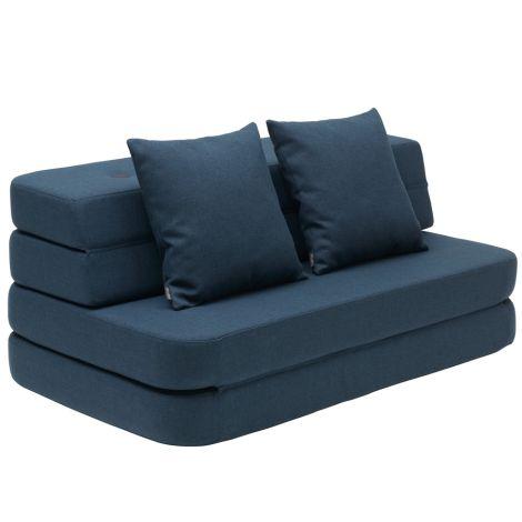 by KlipKlap KK 3 fold Sofa XL soft 140 cm Dark Blue/Black