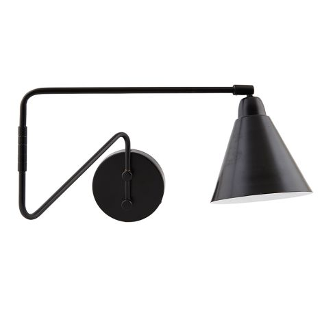 House Doctor Wandlampe Game Schwarz, langer Arm