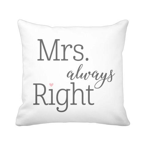 Krasilnikoff Kissenhülle Mrs Always Right White •