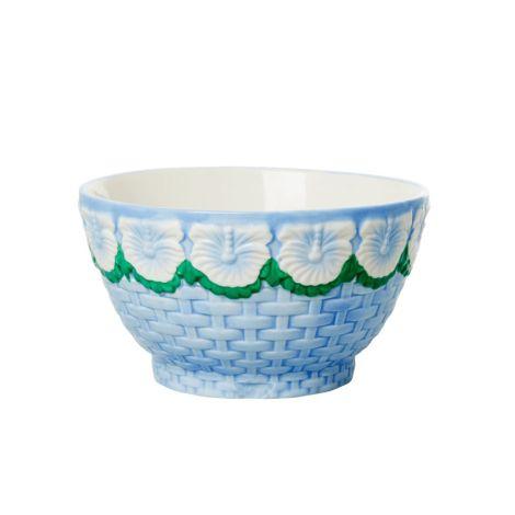 Rice Schüssel Keramik Embossed Flower Design Blue
