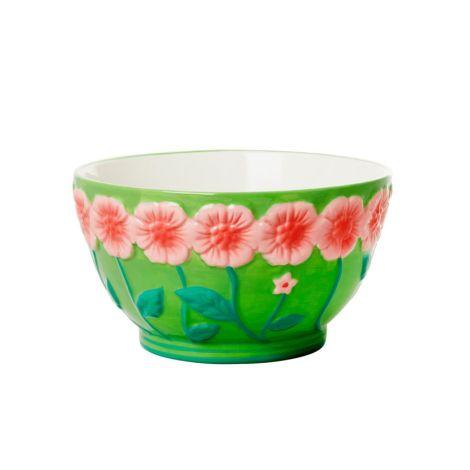 Rice Schüssel Keramik Embossed Pink Flower Design Sage Green