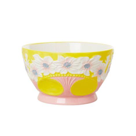 Rice Schüssel Keramik Embossed Flower Design Yellow