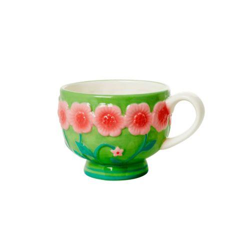 Rice Tasse Keramik Embossed Pink Flower Design Sage Green