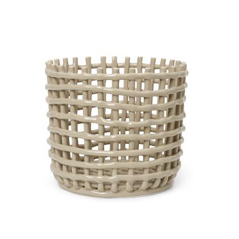 ferm LIVING Schale Keramik-Korb Large Cashmere