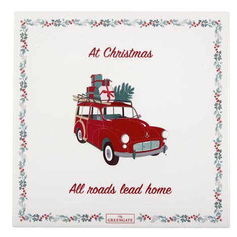 GreenGate Untersetzer Eckig Christmas Car Red