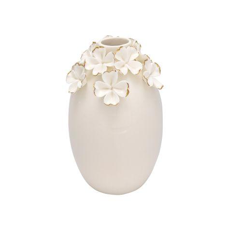 GreenGate Vase Flower White/Gold Large