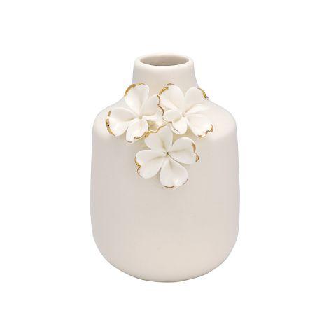 GreenGate Vase Flower White/Gold Small