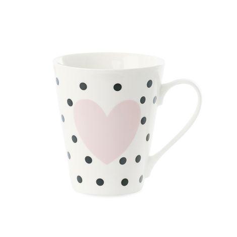 Miss Étoile Kaffeetasse Small Dots Schwarz mit Rosa Herz