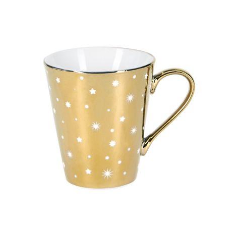 Miss Étoile Kaffeetasse Gold allover White Stars