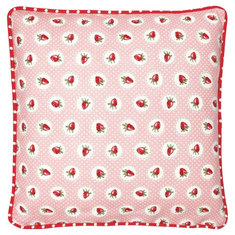 GreenGate Kissenhülle Strawberry Pale Pink 40x40cm