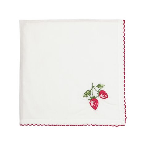 GreenGate Stoffserviette Strawberry Red bestickt