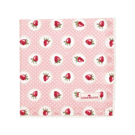 GreenGate Stoffserviette mit Spitze Strawberry Pale Pink