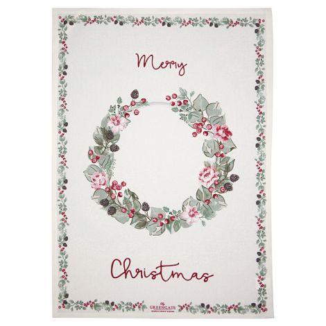 GreenGate Geschirrtuch Motivdruck Merry Christmas White