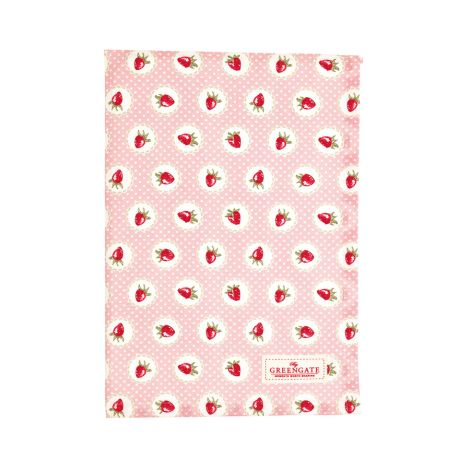 GreenGate Geschirrtuch Strawberry Pale Pink