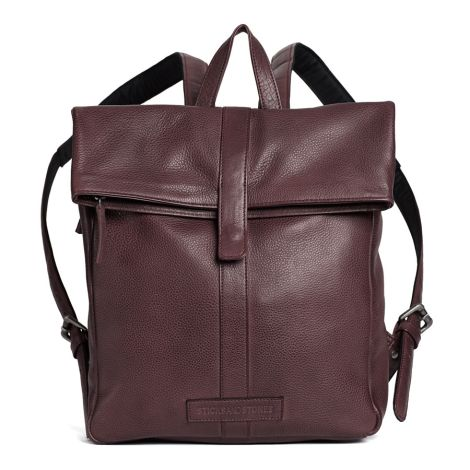 Sticks and Stones Rucksack Courier Cow Burgundy