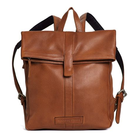 Sticks and Stones Rucksack Courier Cow Cognac