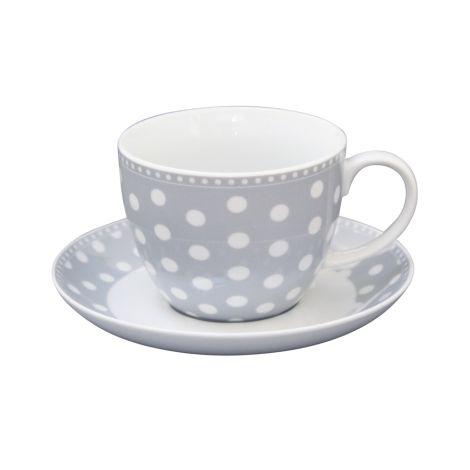 Krasilnikoff Tasse mit Untertasse Dots Grey