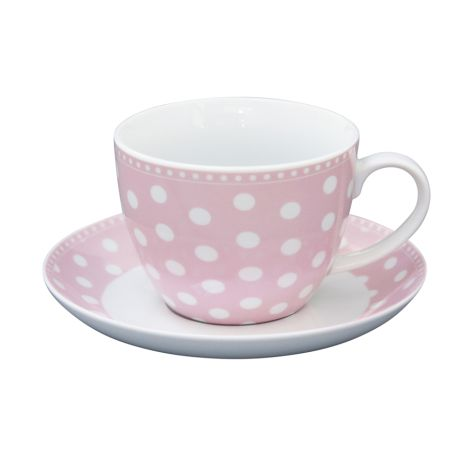 Krasilnikoff Tasse mit Untertasse Dots Pink